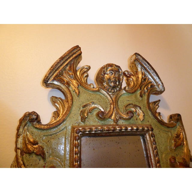 Vintage Rococo Green & Gold Gilt Carved Wood Mirror - Image 8 of 11