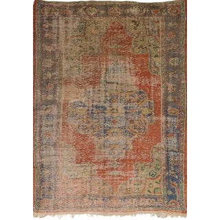 Peach Wool Pile Turkish Rug - 5′2″ × 7′4″