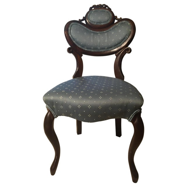 Antique Victorian Blue Parlor Chair - Image 1 of 6