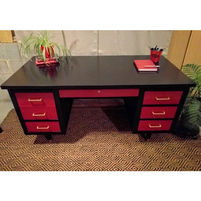 Mid-Century Black & Red Solid Wood Desk - Image 3 of 11