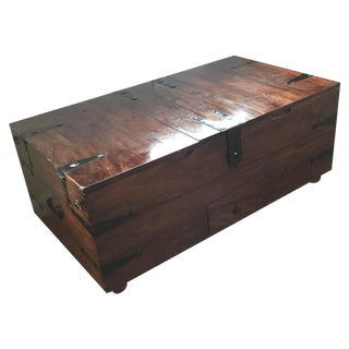 Vintage Solid Wood Chest with Metal Closure
