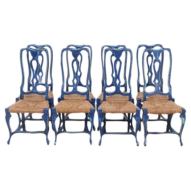 Queen Anne Style Chairs - Set of 8 - Image 1 of 6