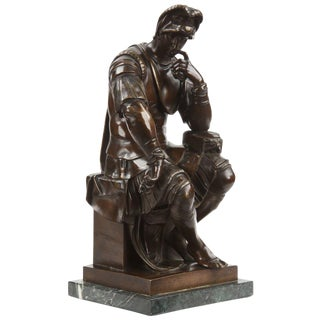 Vintage Lorenzo De Medici Bronze Sculpture After Michelangelo