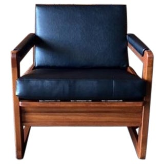 Vintage Black Vinyl Walnut Lounge Chair