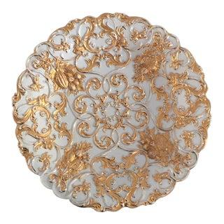 Antique Meissen Fine Porcelain Gold & White Fruit Design Plate