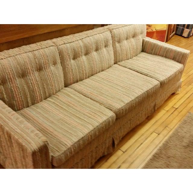 Mid-Century Pastel Stripes Tufted Sofa - Image 2 of 8