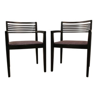 Mid-Century Knoll Riccio Lacquer Wood Arm Chairs - Pair