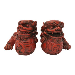 Chinese Red Foo Dogs - A Pair