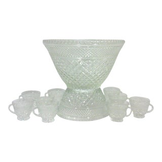Pedestal Glass Serving Bowl and Cups - Set of 11