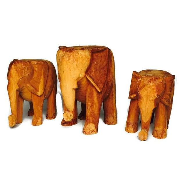 Vintage Solid Wood Carved Elephant Stands - 3 - Image 2 of 7
