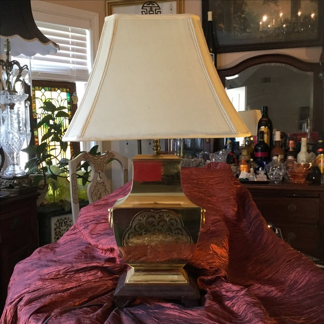 Mid-Century Modern Asian Brass Table Lamp - Image 9 of 11