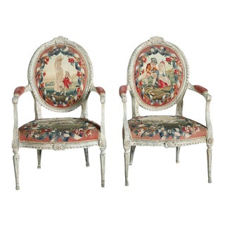 Fine Pair of Swedish Neoclassic Painted Armchairs
