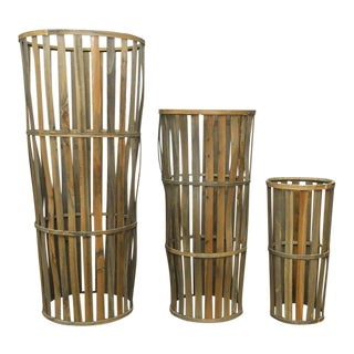 Tall Wooden Cellar Baskets-Set of 3