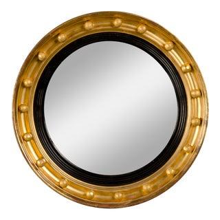 Antique English Regency Perios Gold Leaf Convex Mirror circa 1825 (19 1/2″dia.)