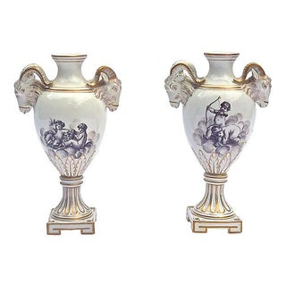Antique Ram's Head & Cherub Vases - A Pair