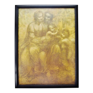 Vintage Leonardo Da Vinci Framed Print The Virgin and Child with St. Anne and John The Baptist