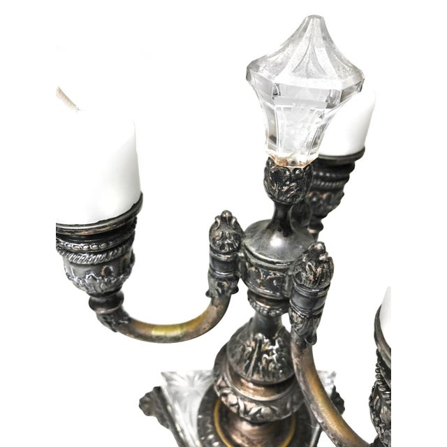1800s Antique Pairpoint 3 Arm Crystal & Silver Plated Clawfoot Candelabra - Image 4 of 4