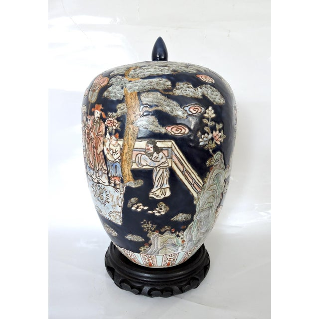 Large Blue Figural Themed Ginger Jar - Image 4 of 9