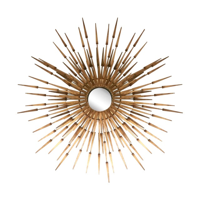 Modern Gold Sunburst Wall Mirror Chairish