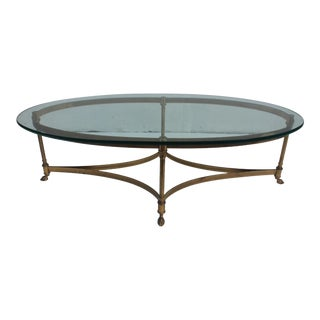 Italian Labarge Brass Hoofed Feet Oval Coffee Table .