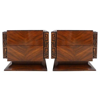 Mid-Century Carved Nightstands from Lane - A Pair