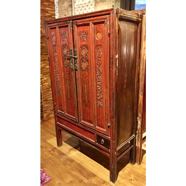 Antique Chinese Red Carved Cabinet - Image 3 of 9