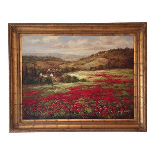 Poppies in Italian Landscape Oil Painting