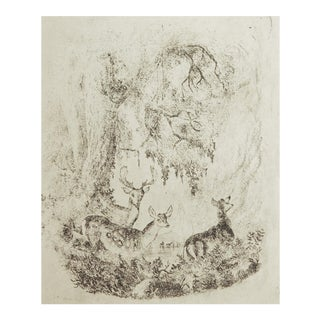 Tiny Deer in Forest Etching