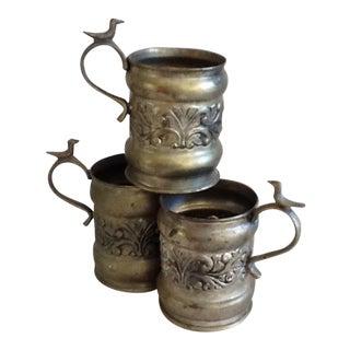 Vintage Metal Carved Bird Cups, Planters or Desk Accessories - Set of 3