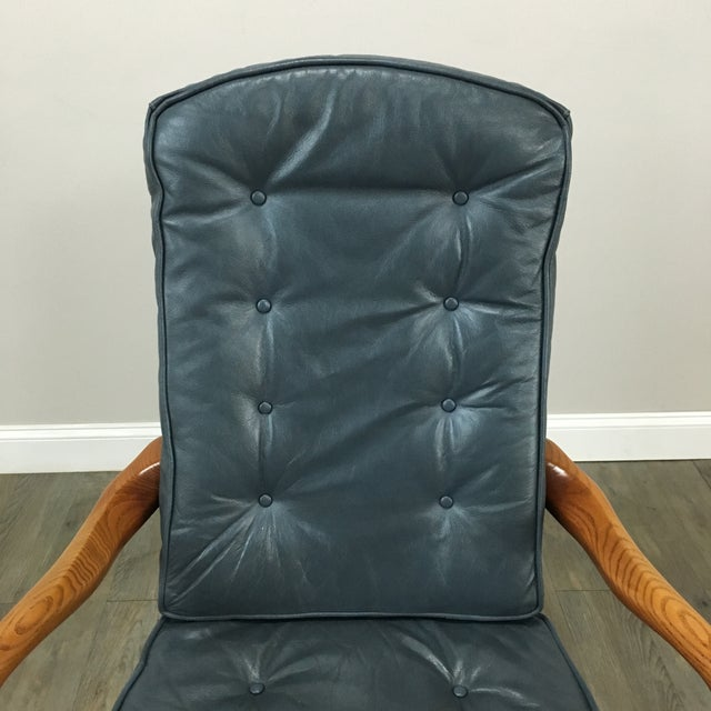 Sea Blue Tufted Leather & Nailhead Office Chair - Image 4 of 6