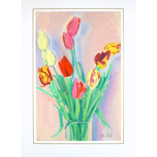 French Watercolor Painting - Tulip, C. 1960 - Image 3 of 4