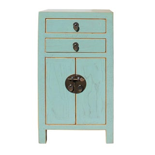 Chinese Turquoise Lacquer Nightstand