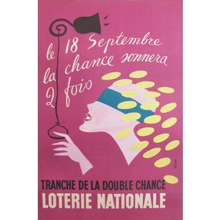 1940s French National Lottery Poster, Blindfolded Lady Luck