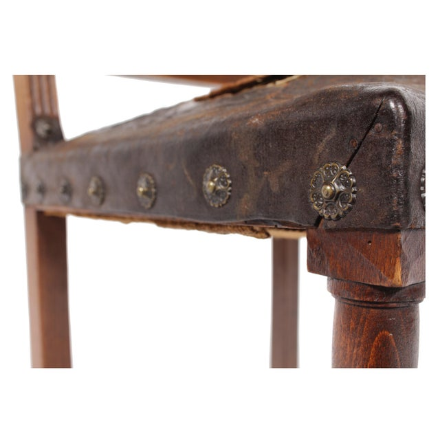 1890s French Leather Brittany Chairs - Set of 6 - Image 9 of 10