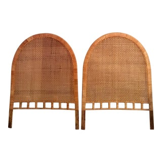 Vintage Mid-Century Woven Cane Arched Twin Rattan Headboards - a Pair