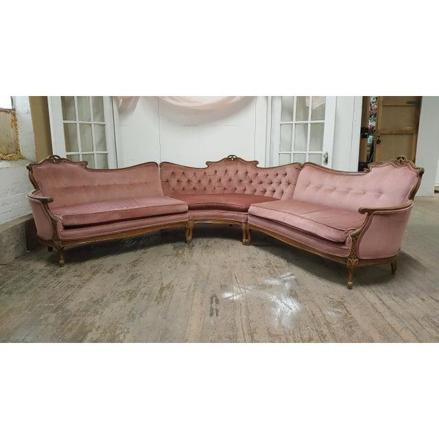 Vintage french provincial pink velvet sectional sofa for Vintage velvet sectional sofa