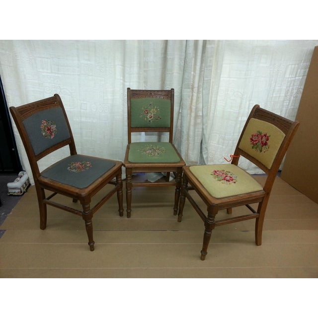 Image of Needlepoint Prairie Dining Chairs - Set of 3
