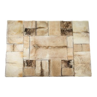 """Luxury Goatskin Patchwork Rug,Hand Stitched in Europe,Superior Quality,4'7"""" x 6'7"""""""