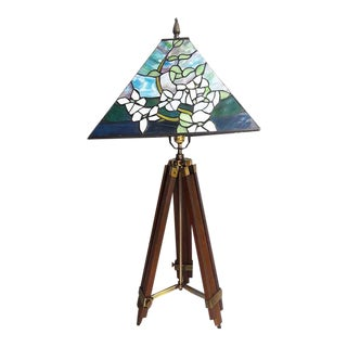 Adjustable Surveyor Tripod Lamp With Stained Glass Shade
