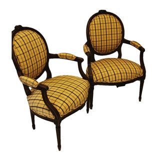 French Louis XVI Style Walnut Armchairs - A Pair