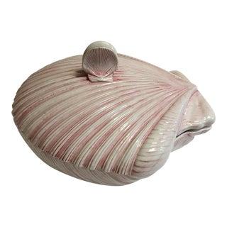 Pink Ceramic Conch Bowl & Lid