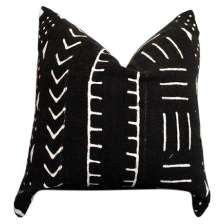 Black and White African Mud Cloth Pillow - Image 1 of 5