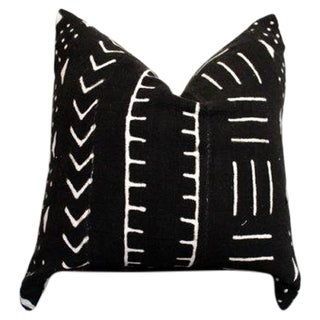 Black and White African Mud Cloth Pillow