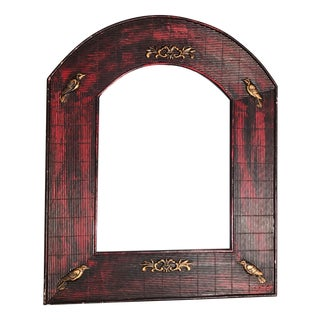 Rustic Traditional Farmhouse Chic Red and Gold Birds Arched Accent Mirror