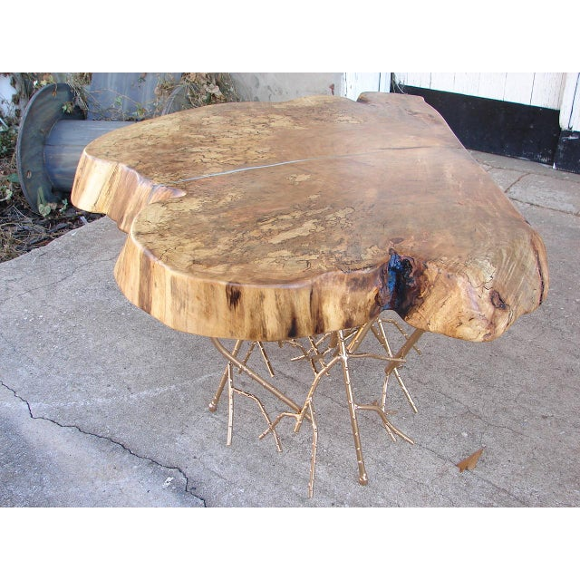 Reclaimed Live Edge Maple Coffee Table Bench Industrial: Rustic Spalted Maple Live Edge Coffee Table