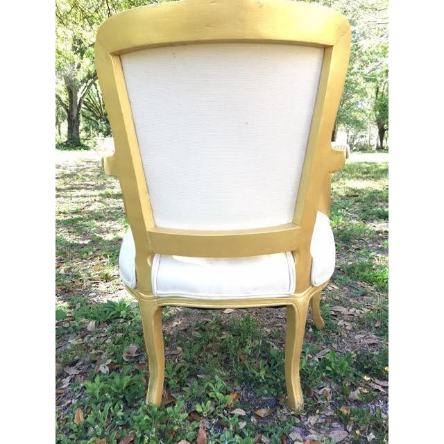 Vintage Ivory Linen Upholstered Armchairs - A Pair - Image 5 of 7