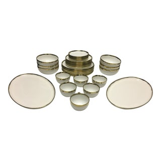 White and Gold Dinnerware - Set of 6