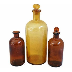 Antique French Amber Apothecary Bottles - Set of 3