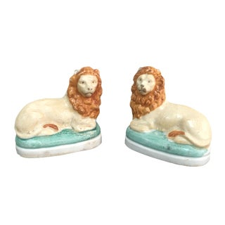 Petite Staffordshire Style Lions - A Pair