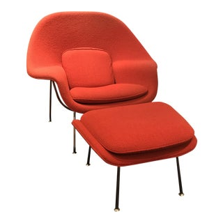 Knoll Womb Chair   Ottoman   A PairVintage   Used Chair   Ottoman Sets   Chairish. Eames Wicker Womb Chair. Home Design Ideas